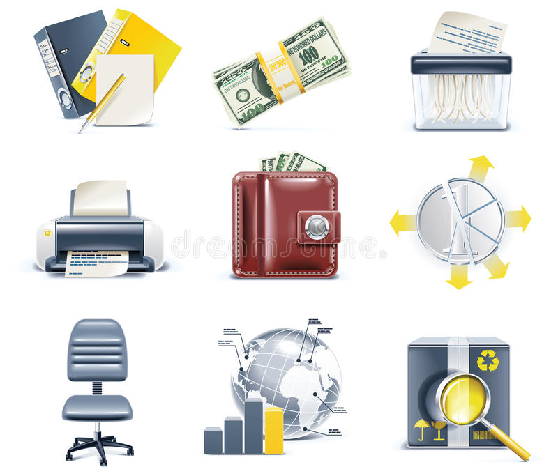 Vector business and office icons. Part 4 vector illustration