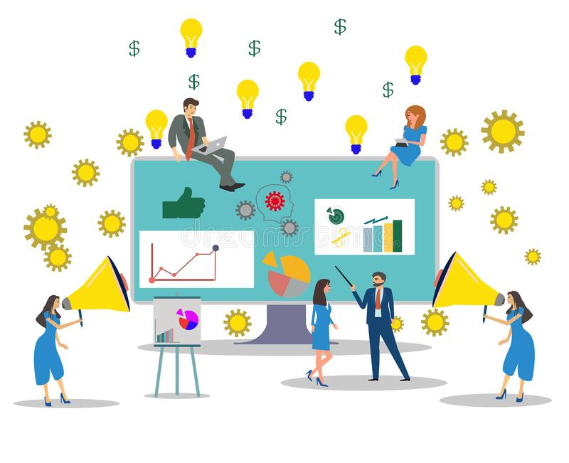 Vector of business people building a successful business project online vector illustration