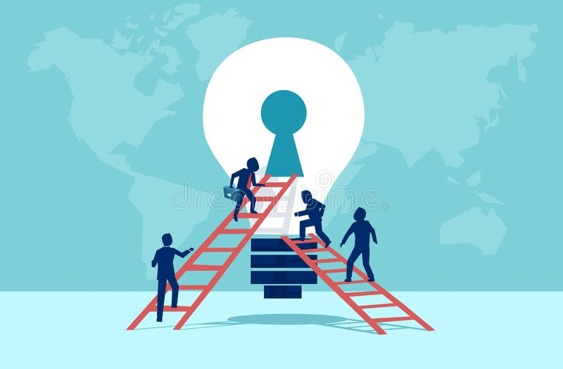 Vector of business people climbing up the ladder into light bulb open keyhole royalty free illustration