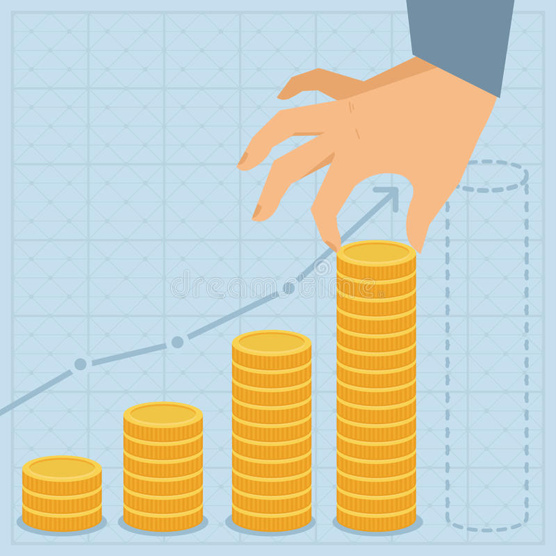 Download Vector Business Plan - Golden Coins In Flat Style Stock Vector - Illustration: 33053234