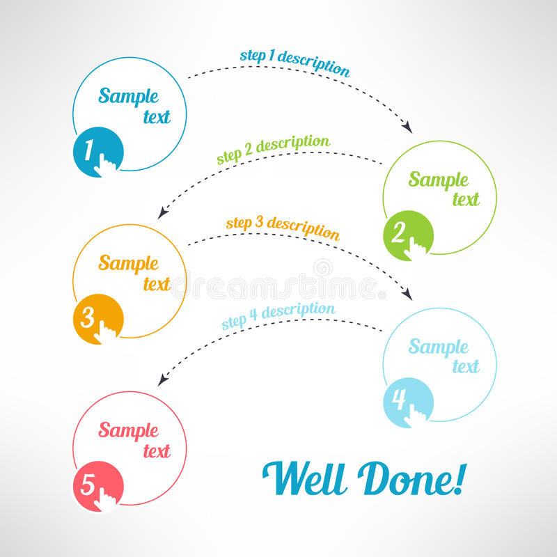 Vector business process steps infographic elements royalty free illustration