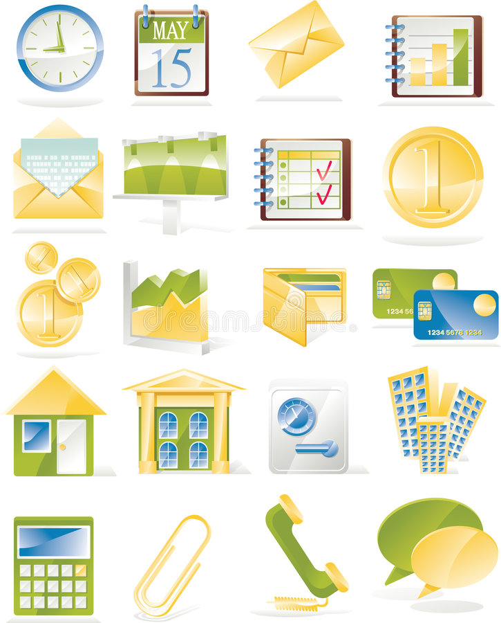 Vector business related icon set. Business, finance and economy icon set in green, yellow and blue