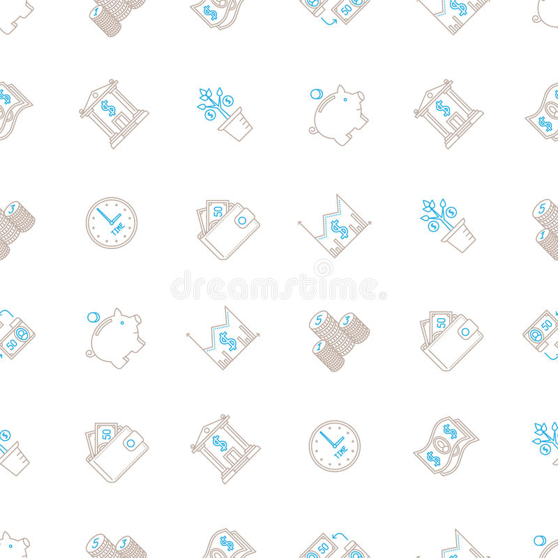Vector business seamless background with signs and symbols in mono line style vector illustration