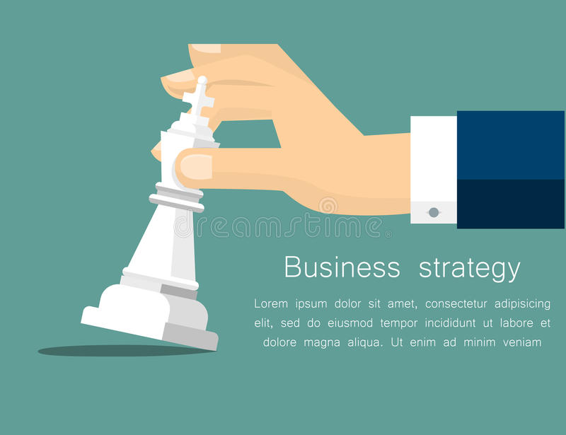 Vector business strategy concept in flat style, male hand holding chess figure - planning and management royalty free illustration