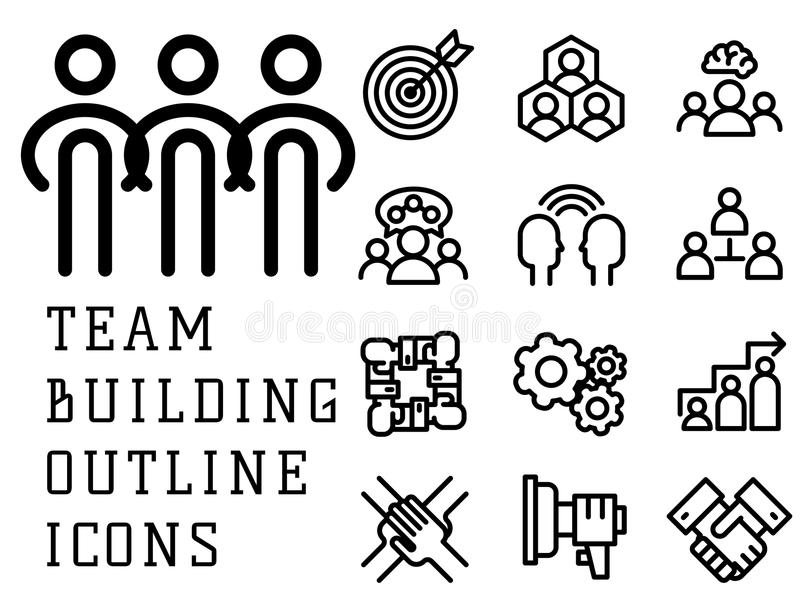 Vector illustration business team building people concept teambuilding work management outline trainings icons. vector illustration