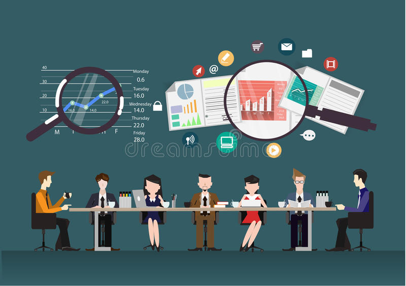 Vector business teams statistics with data. Concept of the co working center. Business meeting. People talking and working vector illustration