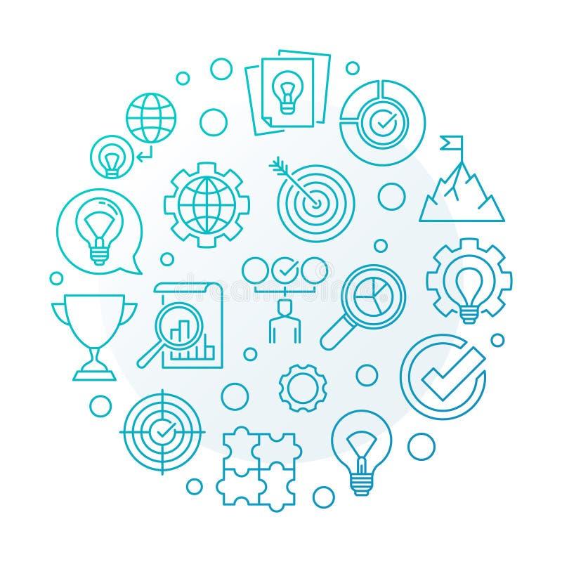 Vector Business Values blue round outline illustration. On white background stock illustration