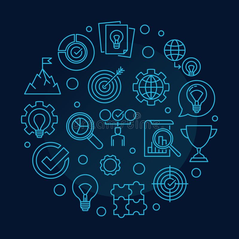 Vector Business Values concept round outline illustration. On dark blue background stock illustration
