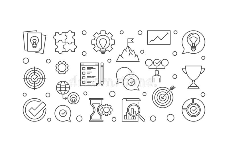 Vector Business Values horizontal outline illustration. Vector Business Values concept horizontal outline illustration on white background royalty free illustration
