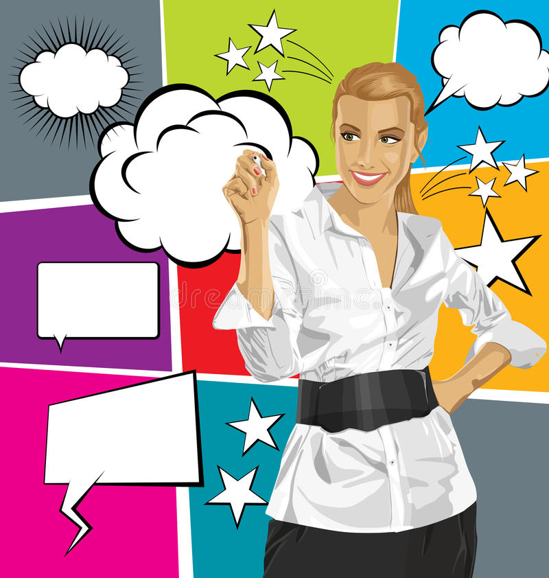 Vector Business Woman Writing Something With Bubble Speech royalty free illustration