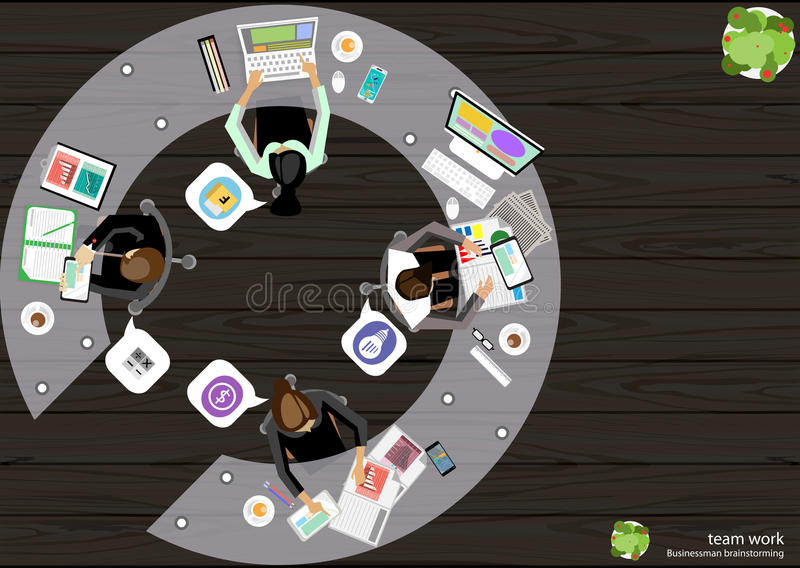 Vector Business Work place top corner brainstorming ideas for a task, leveraging computer Notebook Tablet Mobile files paper. Vector Business Work place top vector illustration