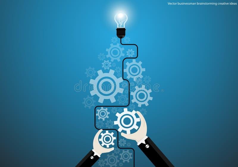 Vector businessman brainstorming creative ideas with bulb brain cogs flat design. Vector businessman brainstorming creative ideas with bulb brain cogs vector illustration