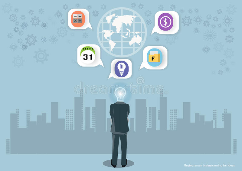 Vector Businessman brainstorming for ideas Global Marketing And icons Together with business flat design. Vector Businessman brainstorming for ideas Global stock illustration
