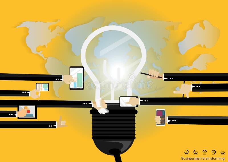 Vector Businessman brainstorming for ideas Modern communication technologies bulb mobile tablet world map flat design royalty free illustration