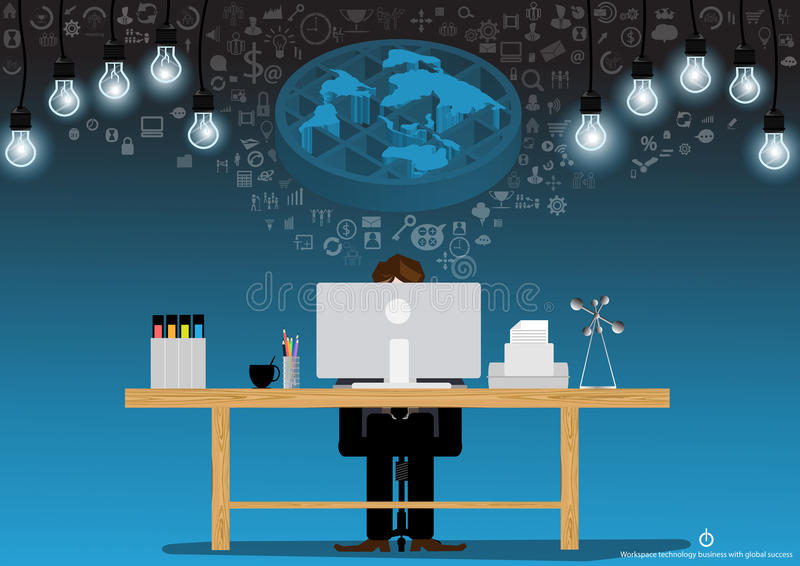 Vector businessman brainstorming ideas for using technology to communicate with a computer, printer, files, pencils and coffee cup royalty free illustration