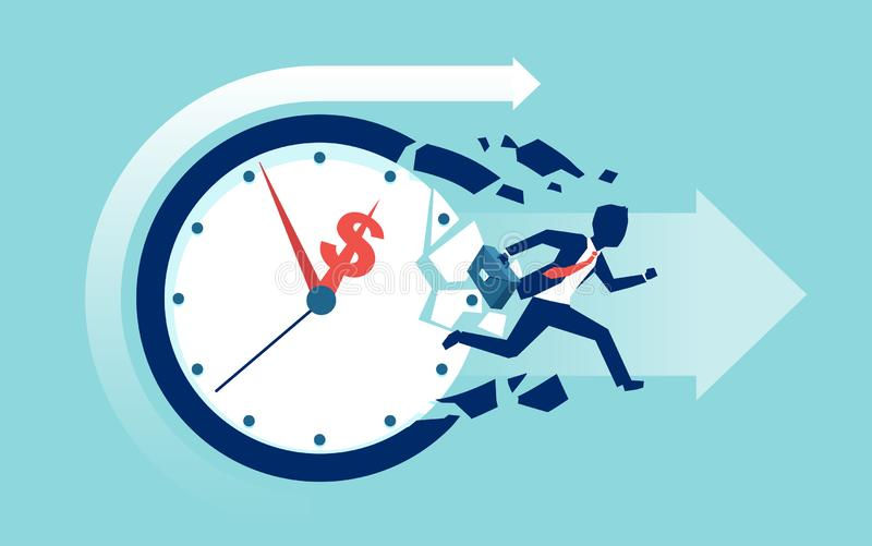 Vector of a businessman breaking a clock face running for a profit royalty free illustration