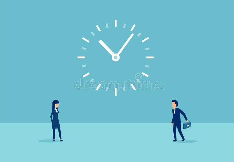 Vector of a businessman with a briefcases and a woman and a big clock between royalty free illustration