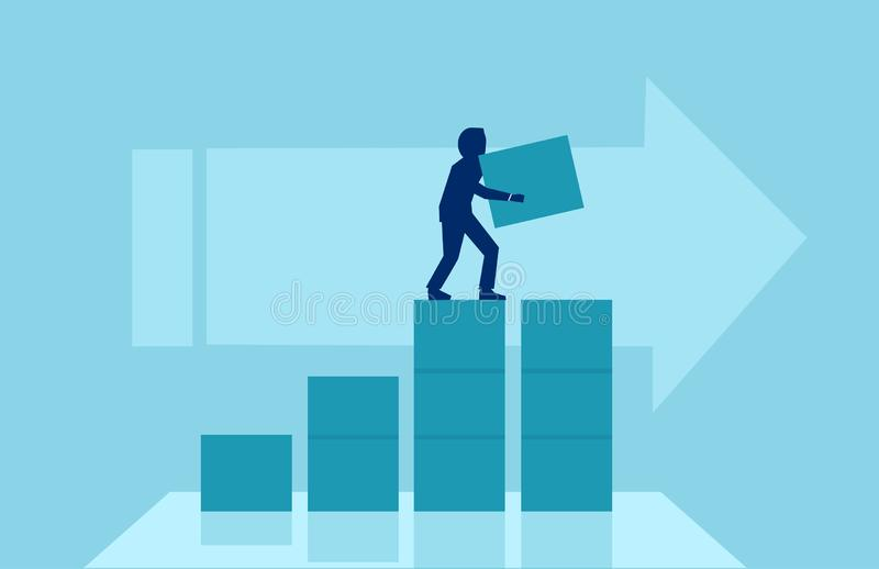 Vector of a businessman building steps for his corporate career. stock illustration