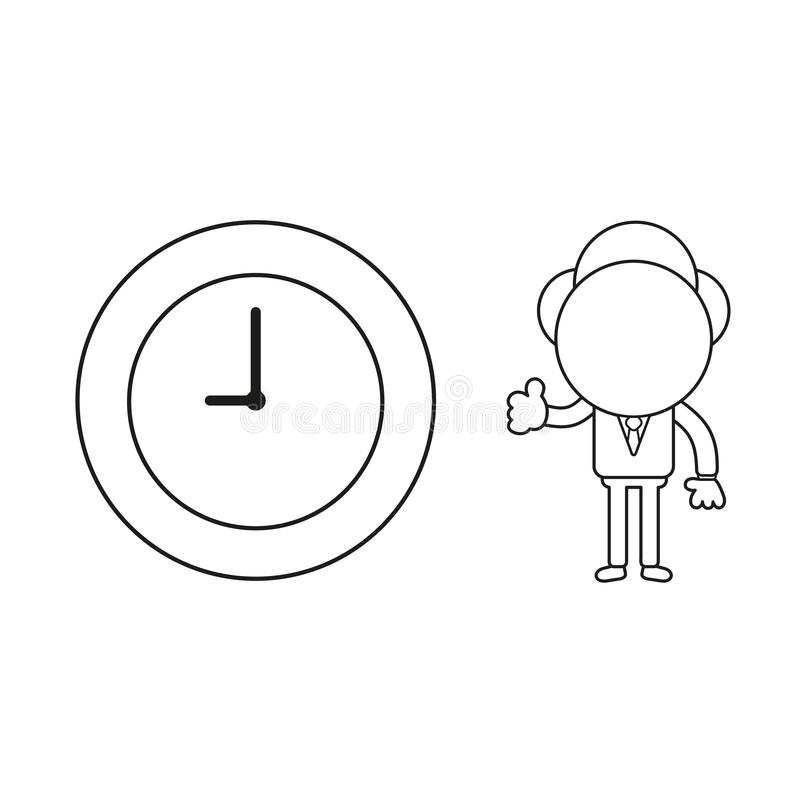Vector businessman character gesturing thumbs up with clock time. Black outline. Vector illustration businessman character gesturing thumbs up with clock time vector illustration