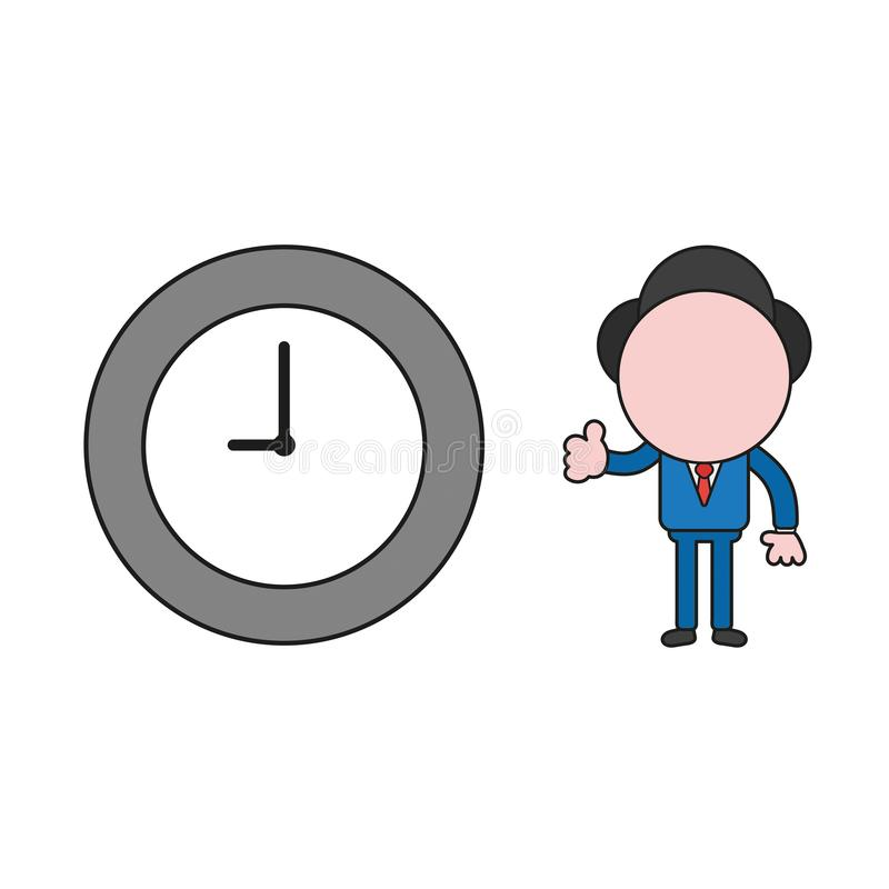 Vector businessman character gesturing thumbs up with clock time. Color and black outlines. Vector illustration businessman character gesturing thumbs up with stock illustration