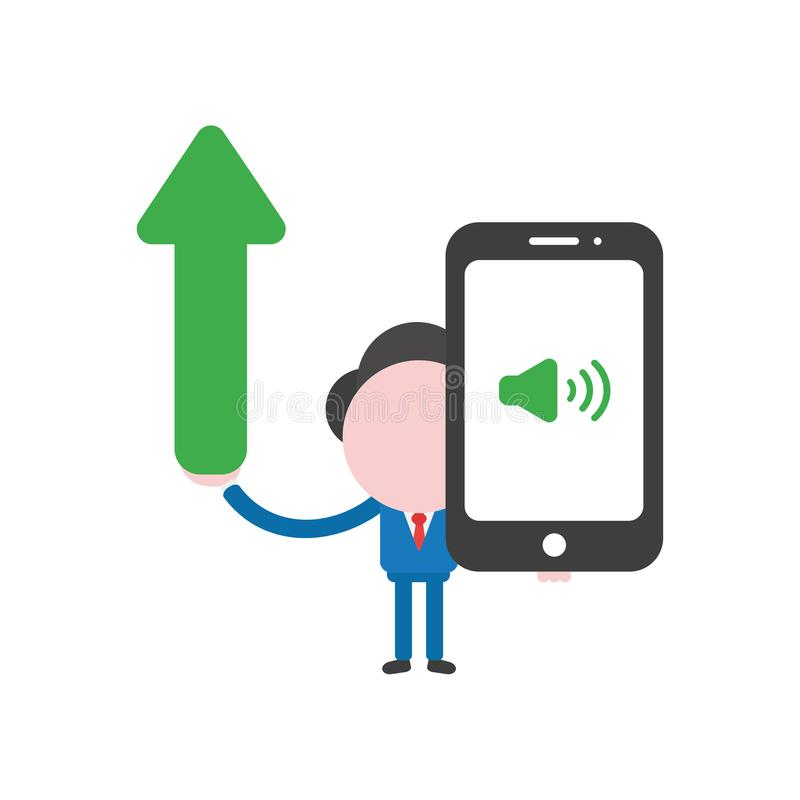Vector businessman character holding arrow moving up and smartphone with sound on icon. Vector illustration businessman character holding arrow moving up and royalty free illustration