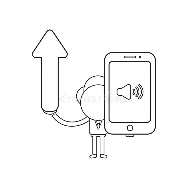 Vector businessman character holding arrow moving up and smartphone with sound on icon. Black outline. Vector illustration businessman character holding arrow vector illustration