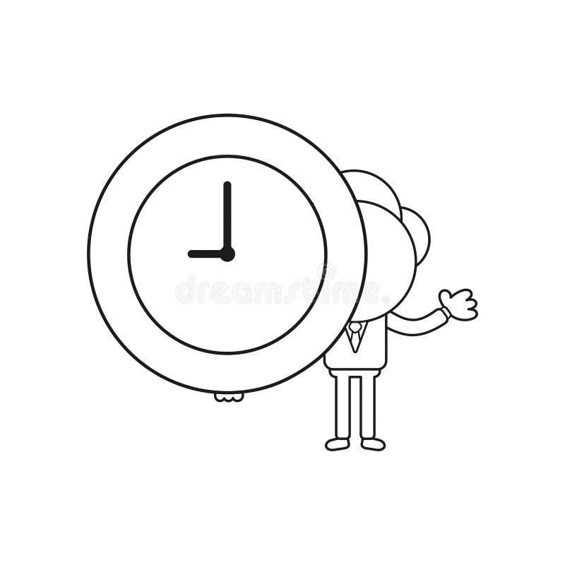 Vector businessman character holding clock time. Black outline. Vector illustration businessman character holding clock time. Black outline vector illustration