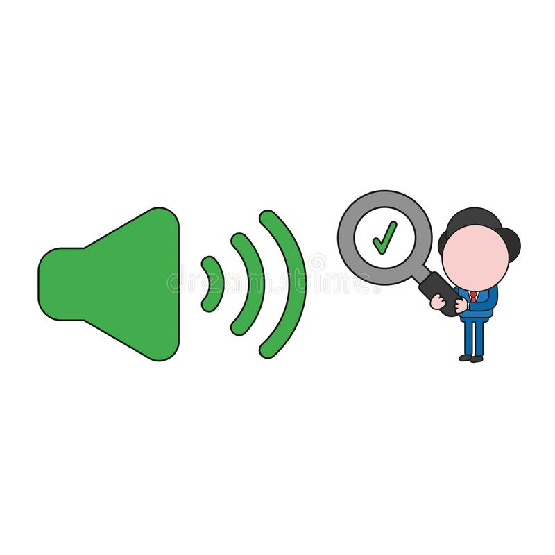 Vector businessman character holding magnifying glass with check mark to sound on icon. Color and black outlines. Vector illustration businessman character royalty free illustration
