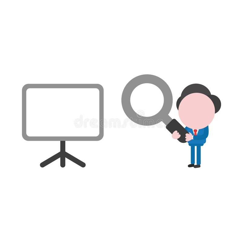Vector businessman character holding magnifying glass and looking at blank presentation chart vector illustration