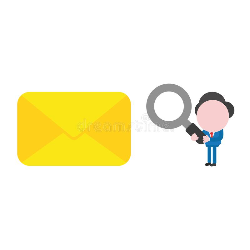 Vector businessman character holding magnifying glass and looking to closed envelope royalty free illustration