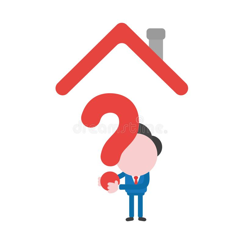 Vector businessman character holding question mark under house r royalty free illustration