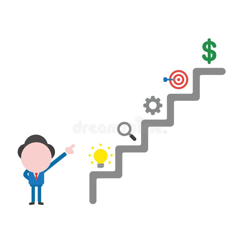Vector businessman character pointing top of stairs, light bulb,magnifying glass, gear, bulls eye target and dollar money on steps stock illustration