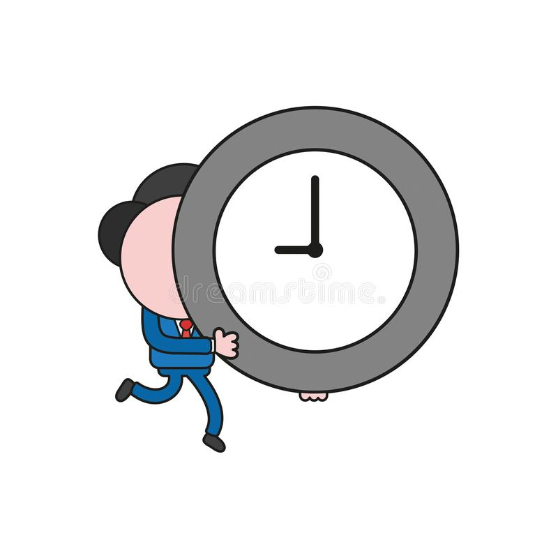 Vector businessman character runColor and black outlines.ning and carrying clock time. Vector illustration businessman character running and carrying clock time stock illustration