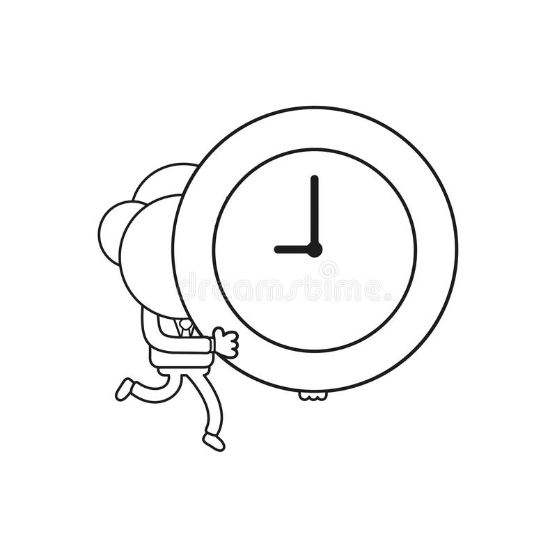 Vector businessman character running and carrying clock time. Black outline. Vector illustration businessman character running and carrying clock time. Black stock illustration