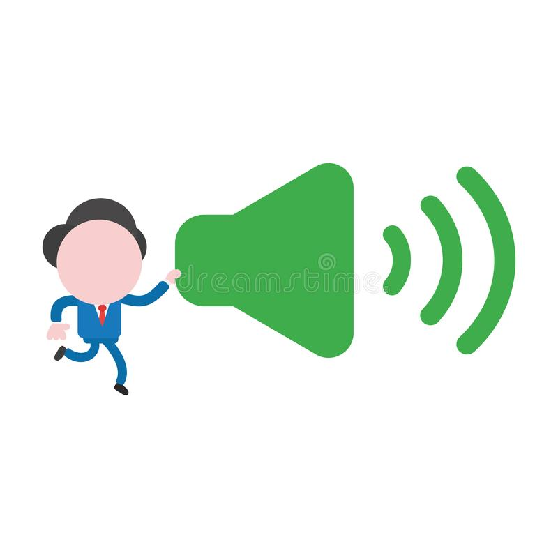 Vector businessman character running and carrying sound on icon. Vector illustration businessman character running and carrying sound on icon vector illustration