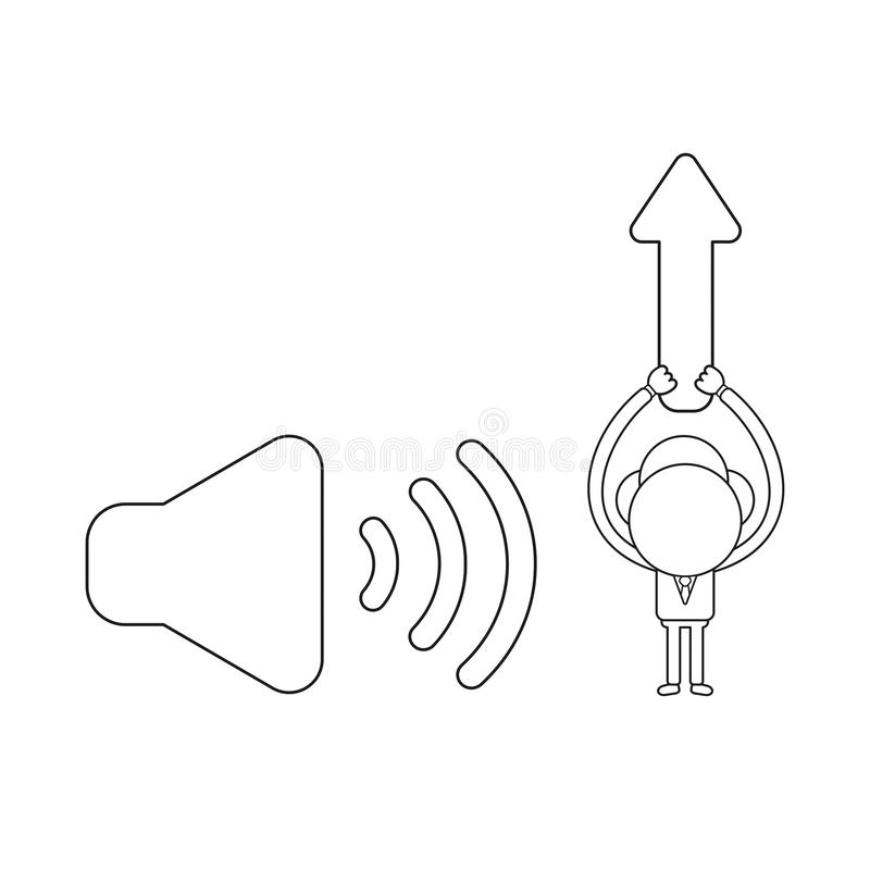 Vector businessman character with sound on icon and holding up arrow moving up. Black outline. Vector illustration businessman character with sound on icon and stock illustration