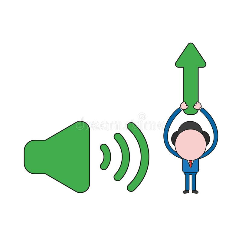 Vector businessman character with sound on icon and holding up arrow moving up. Color and black outlines. Vector illustration businessman character with sound on vector illustration