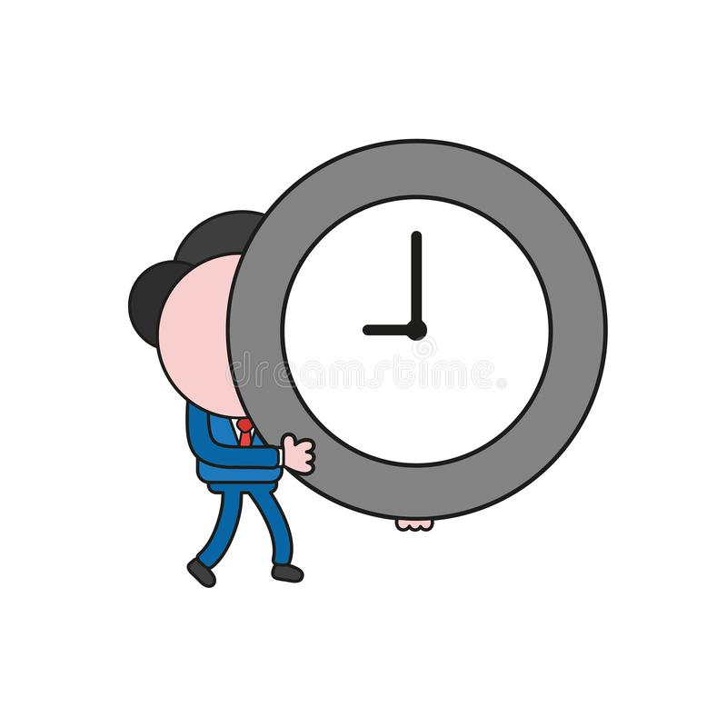 Vector businessman character walking and holding clock time. Color and black outlines. Vector illustration businessman character walking and holding clock time vector illustration