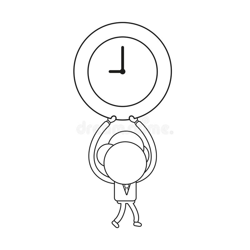Vector businessman character walking and holding up clock time. Black outline. Vector illustration businessman character walking and holding up clock time icon stock illustration