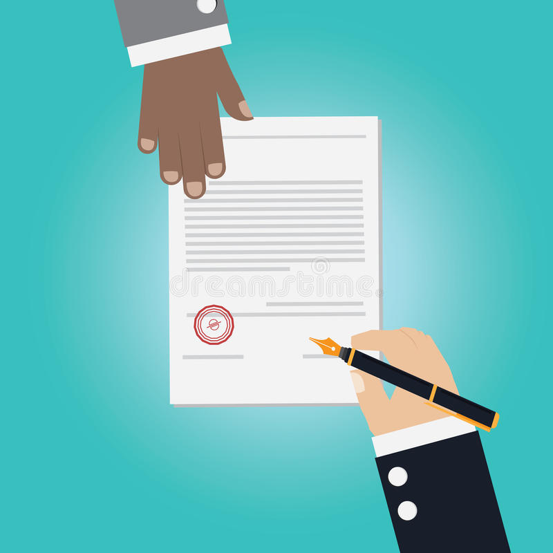 Vector of businessman Hand making deal. For signing contract vector illustration