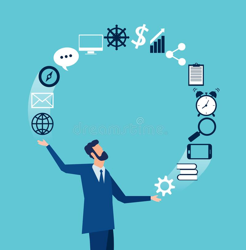 Vector of a businessman juggling business icons royalty free illustration
