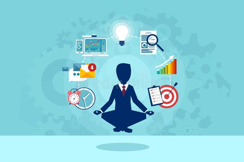 Vector of businessman meditating having a break at work stock illustration