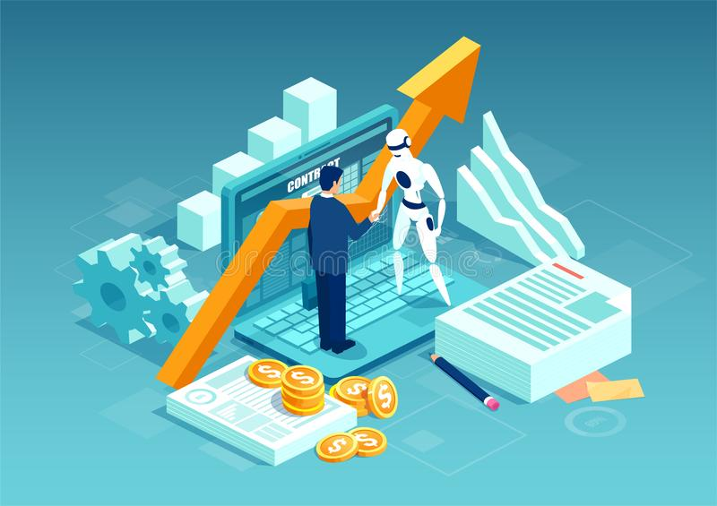 Vector of a businessman and a robot shaking hands standing on computer vector illustration