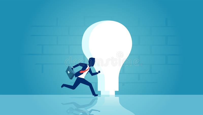 Vector of a businessman running into keyhole shaped as bright light bulb vector illustration