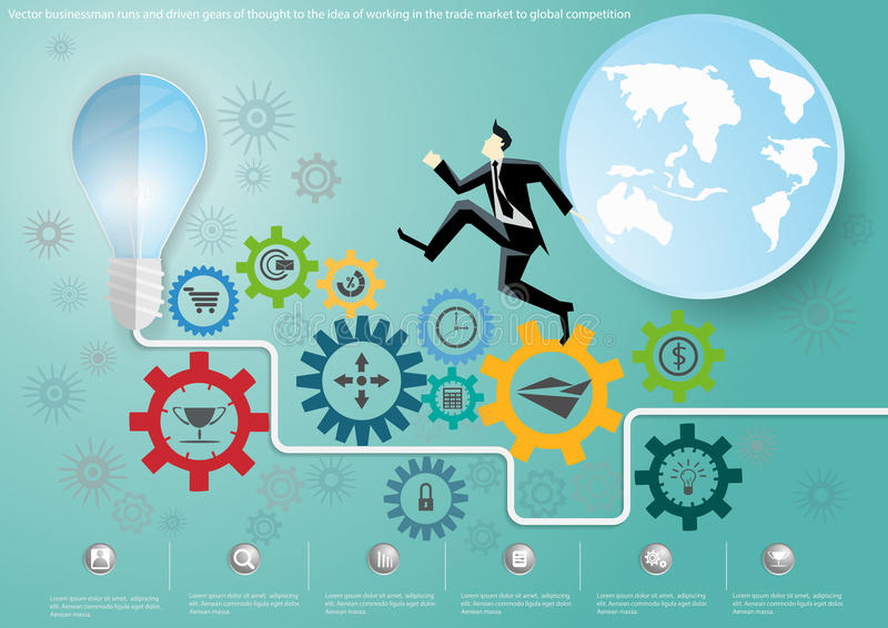 Vector businessman runs and driven gears of thought to the idea of working in a competitive global market to trade flat design. Businessman runs and driven gears royalty free illustration