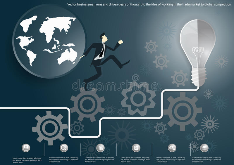 Vector businessman runs and driven gears of thought to the idea of working in a competitive global market to trade flat design. Businessman runs and driven gears stock illustration