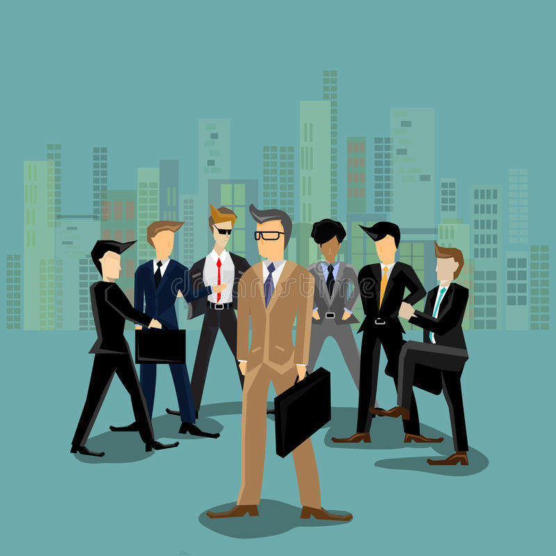 Vector businessman team work. In the city royalty free illustration