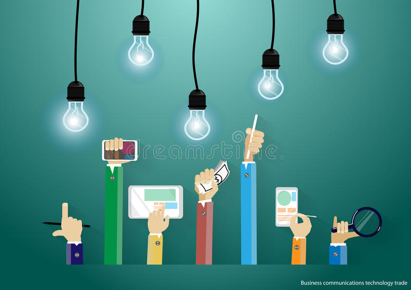 Vector Businessman using modern technology to communicate with mobile commerce tablet and bulbs flat design stock illustration