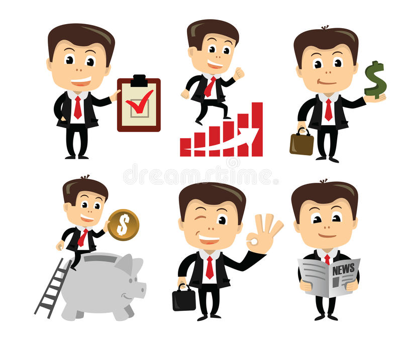 Vector businessman in various poses royalty free illustration