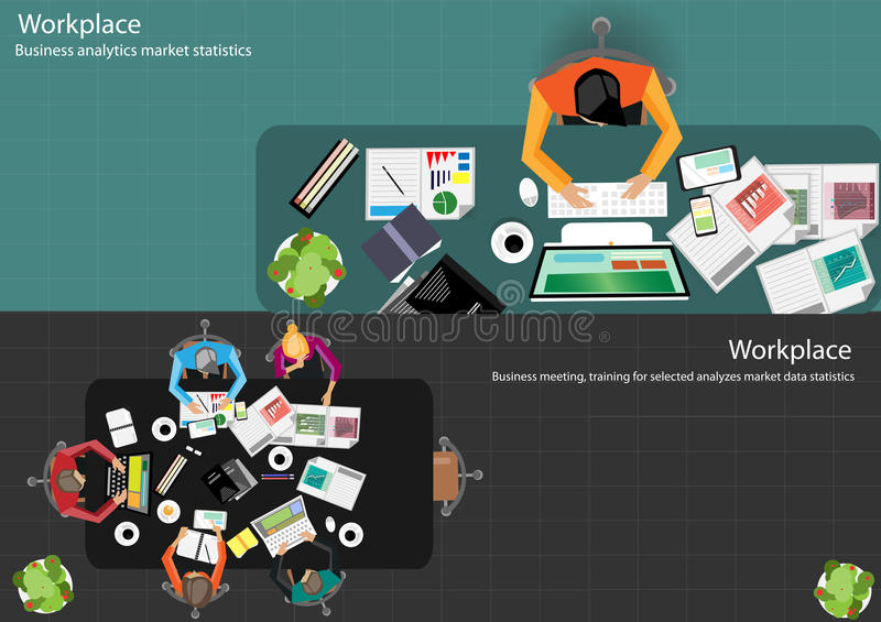Vector Businessmen brainstorm meeting in the office and the mobile tablet technology to communicate with customers worldwide. For team works royalty free illustration